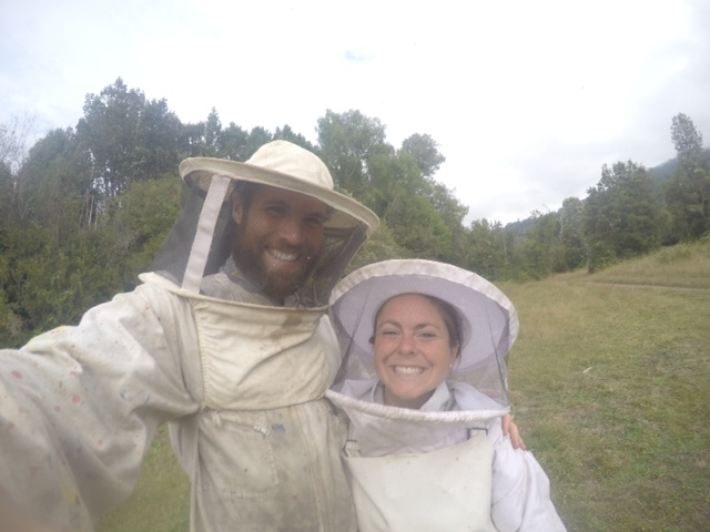 Katherine and I in our beekeeping suits!