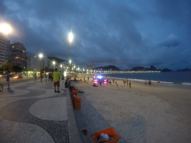A nighttime view from the beach in Copacabana.