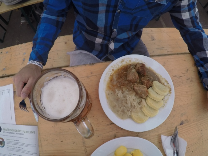 Adam's meal of pork, cabbage, potato dumplings and beer.